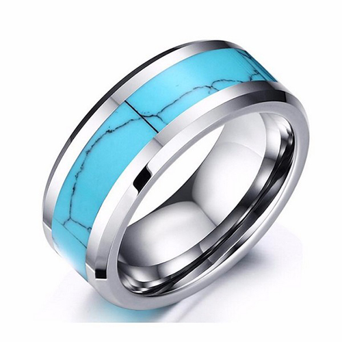 Turquoise Inlay Tungsten Carbide Men's Ring