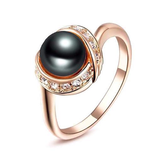 Vintage Rose Gold Black Pearl Ring