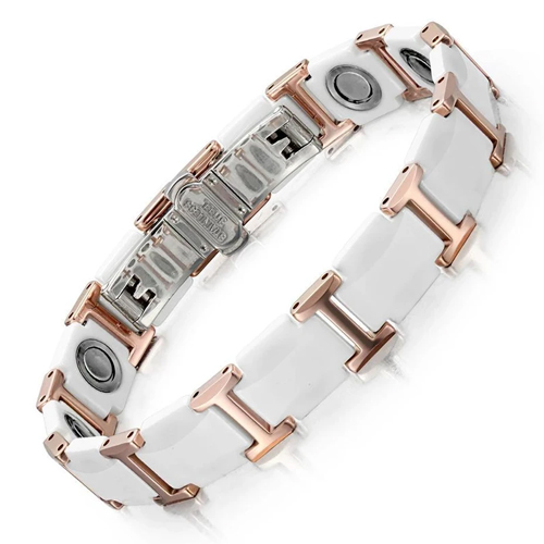 White Ceramic Stainless Steel Magnetic Therapy Bracelet