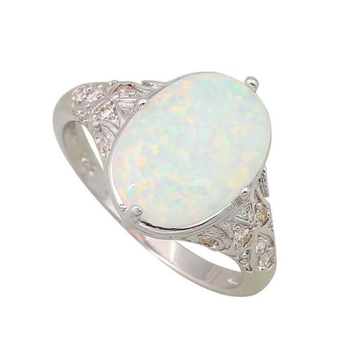 White Fire Opal Sterling Silver Ring