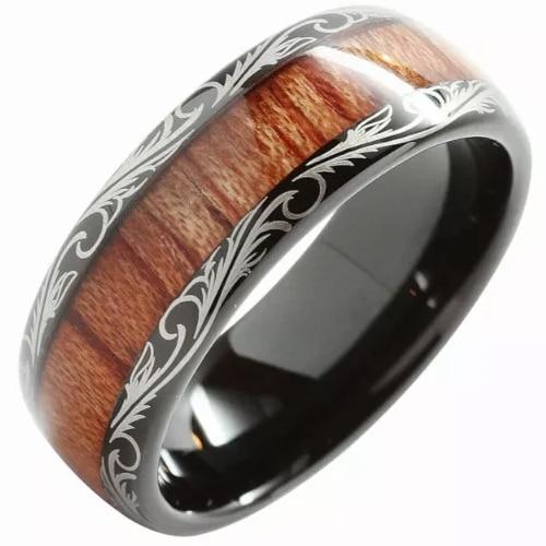 Wood Inlay Black Tungsten Band