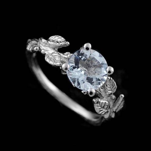 Hand Crafted Subtle Leaves Accent Round Aquamarine Ring Gemstone Organic Unique Exceptional Delicate Engagement Ring 14k White Gold