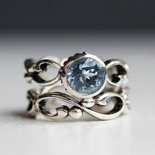 Aquamarine engagement ring set, March birthstone ring, unique bezel engagement ring, solitaire ring, infinity ring set - custom - Wrought
