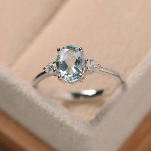 Aquamarine Ring Etsy
