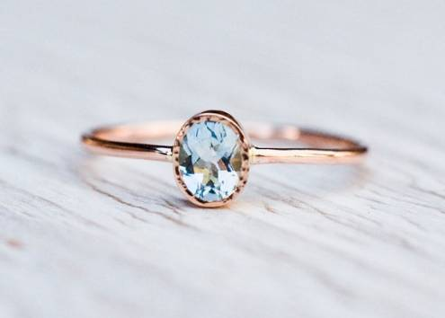 Aquamarine engagement ring in 14k Rose Gold, Valentine's engagement ring, March birthstone, handmade