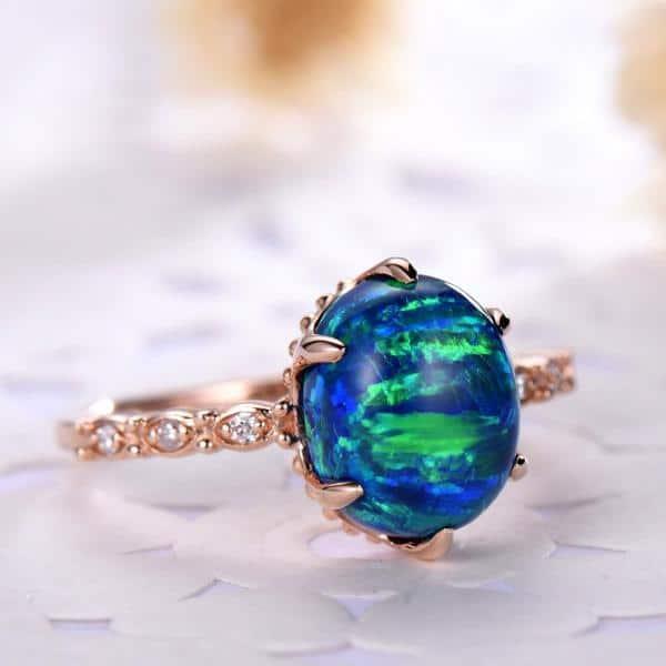 Art Deco Opal Engagement Ring