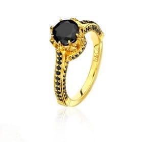 Black Diamond And Yellow Gold Ring