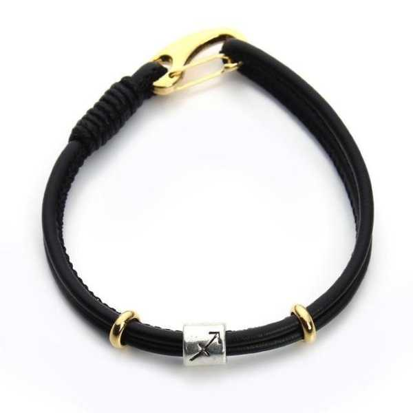 Black Leather And Gold Womens Bracelet