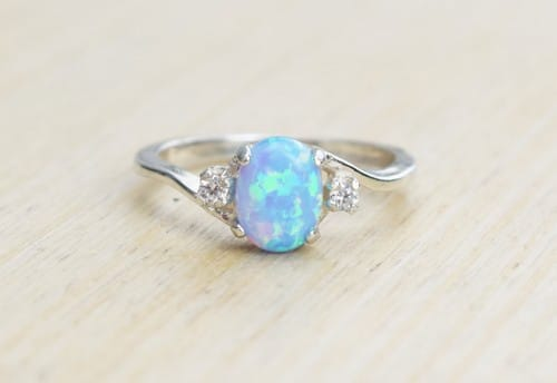 Blue Opal Engagement Rings
