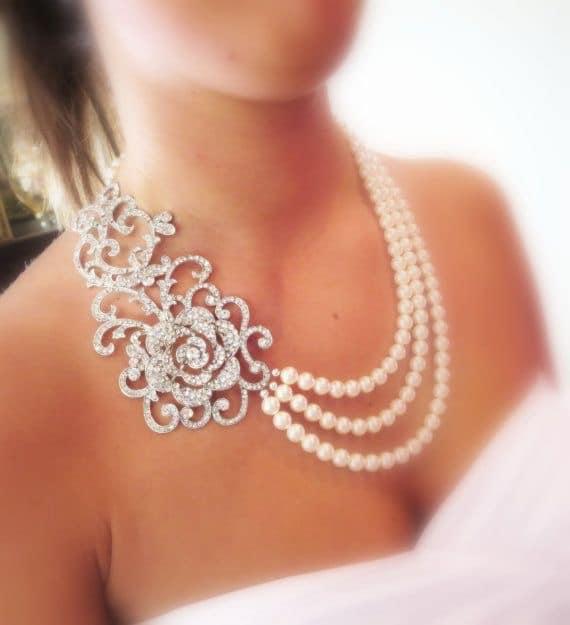 Bridal Statement Necklace Wedding Jewelry Pearl