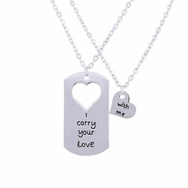 Couple Key And Heart Necklace Set