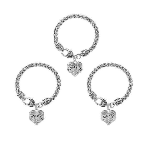 Crystal Paved Heart Charm Sister Bracelets