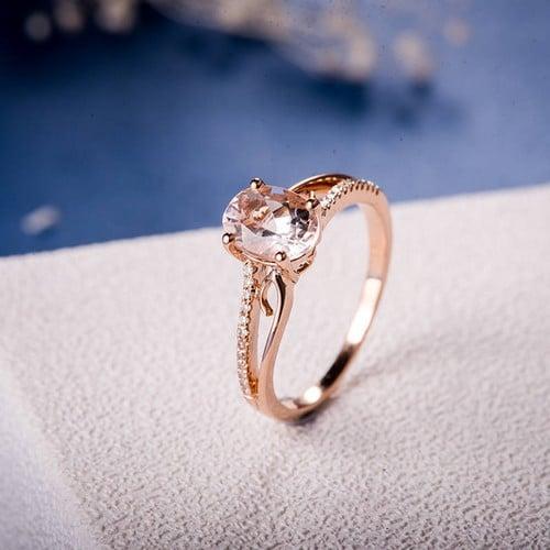 Emerald Cut Morganite Engagement Ring