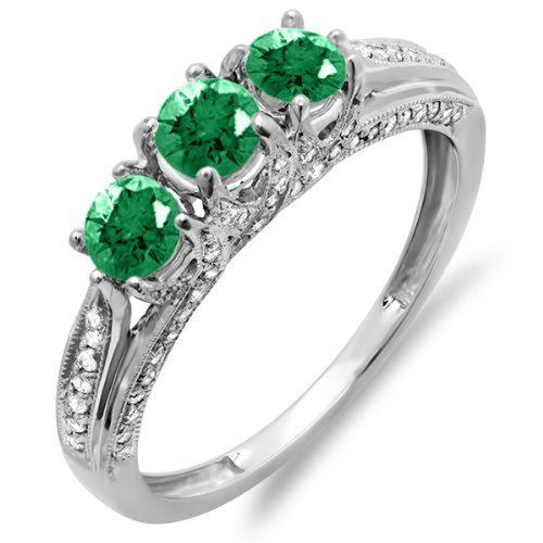 Emerald Rings White Gold