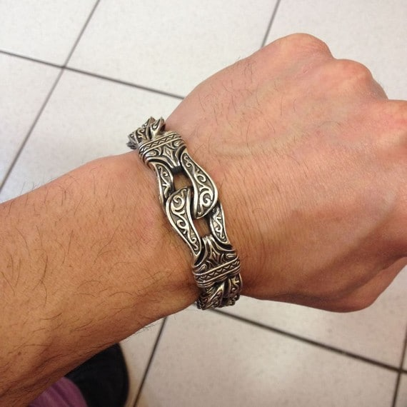 Engraved Silver Bracelets For Men