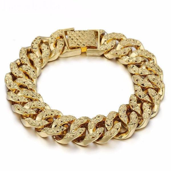 Gold Bracelets For Women Curb Hammered