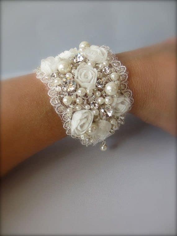 Handmade Victorian Wide Cuff Bridal Bracele