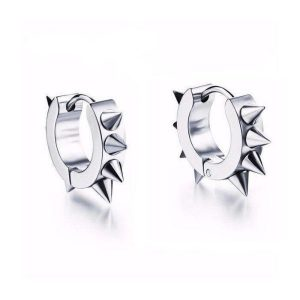 Hoop Spiked Mens Earrings