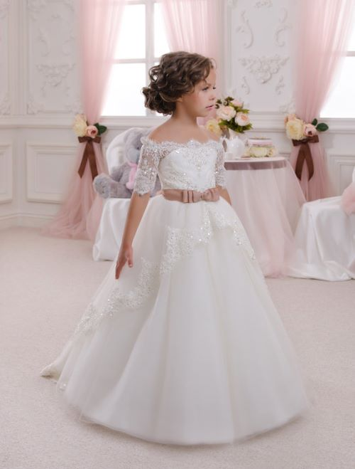 Ivory Lace Flower Girl Dress Perfect for Weddings
