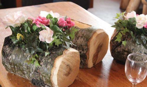 Log Flower Vase Decoration