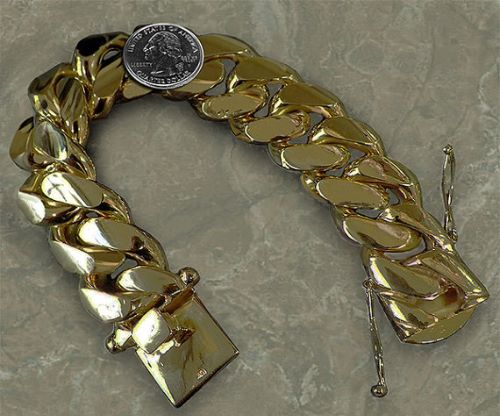 Mens 14K Gold Nugget Bracelet