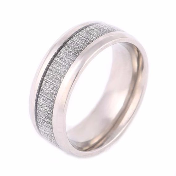 Micro Faceted Silver Inlay Tungsten Band