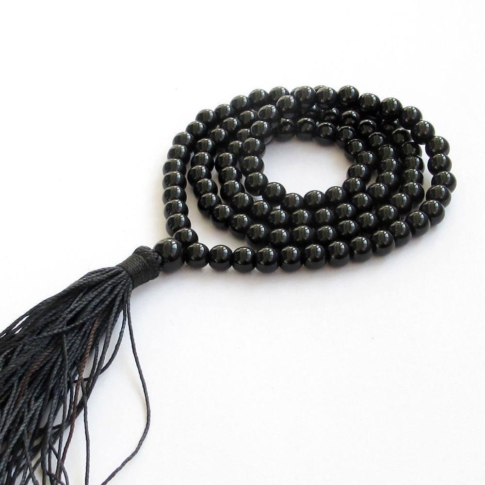 Black Agate Mala Beads with Tassel
