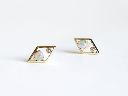 Opal Diamond Earrings In Gold