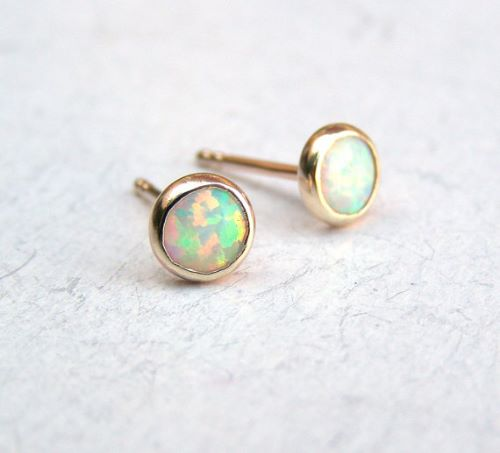 Opal Earings Gold