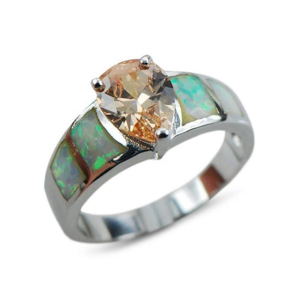 Opal Engagement Rings Silver