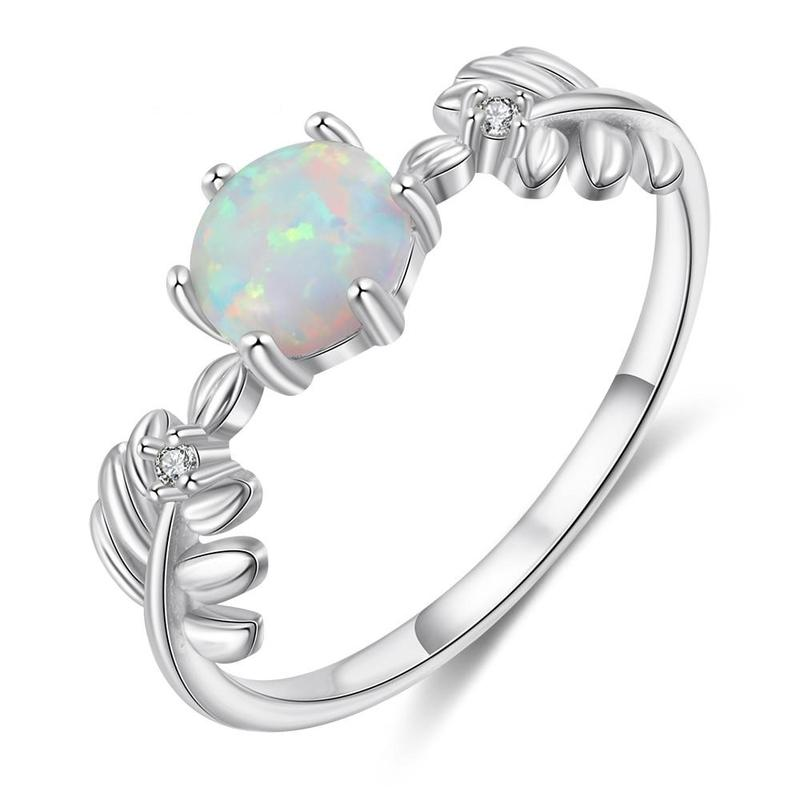Round White Opal Leaf Sterling Silver Ring