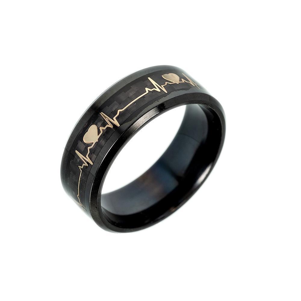 Heart Beat Engraved Luminous Ring