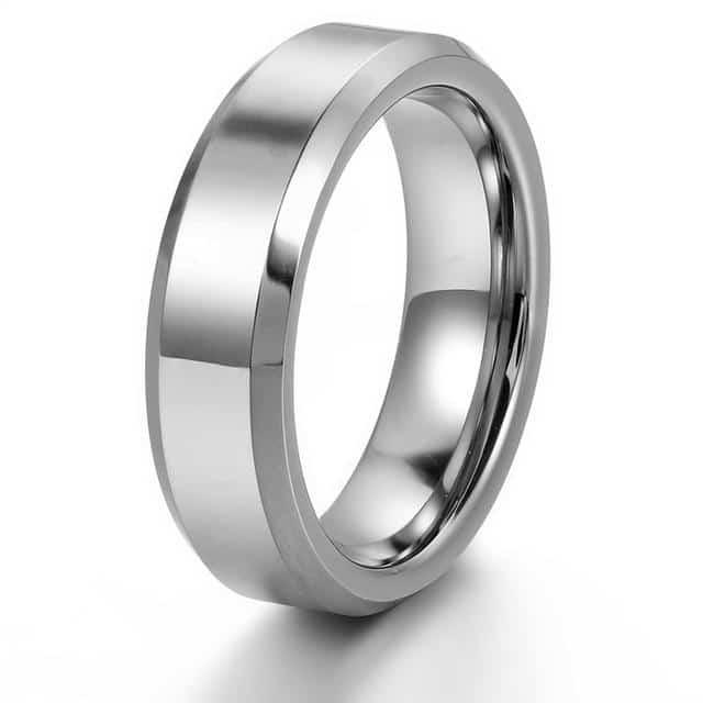 Unisex 6mm & 8mm Silver Tungsten Beveled-Edge Ring