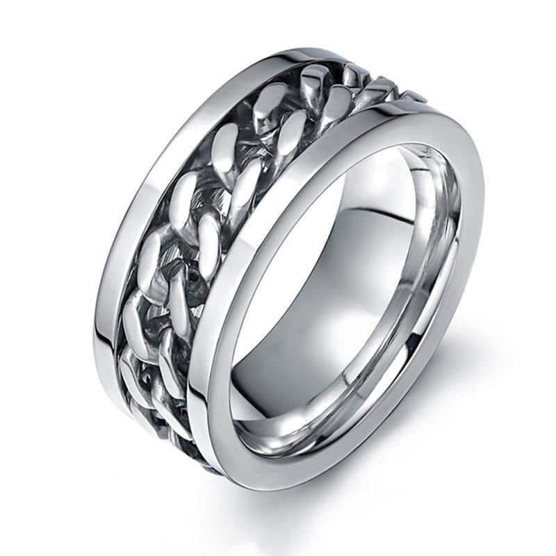 Titanium Steel Rotatable Chain Unisex Ring