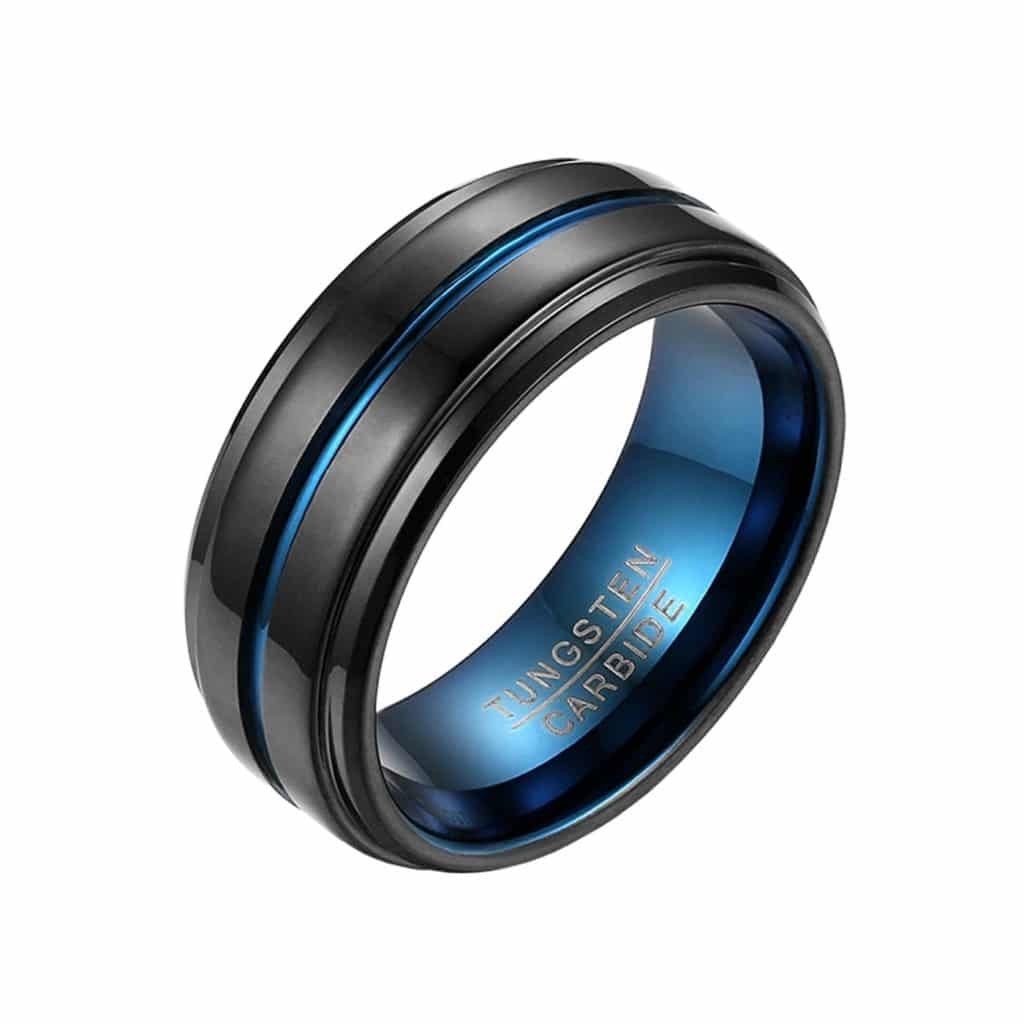 Blue & Black Tungsten Carbide Grooved Ring