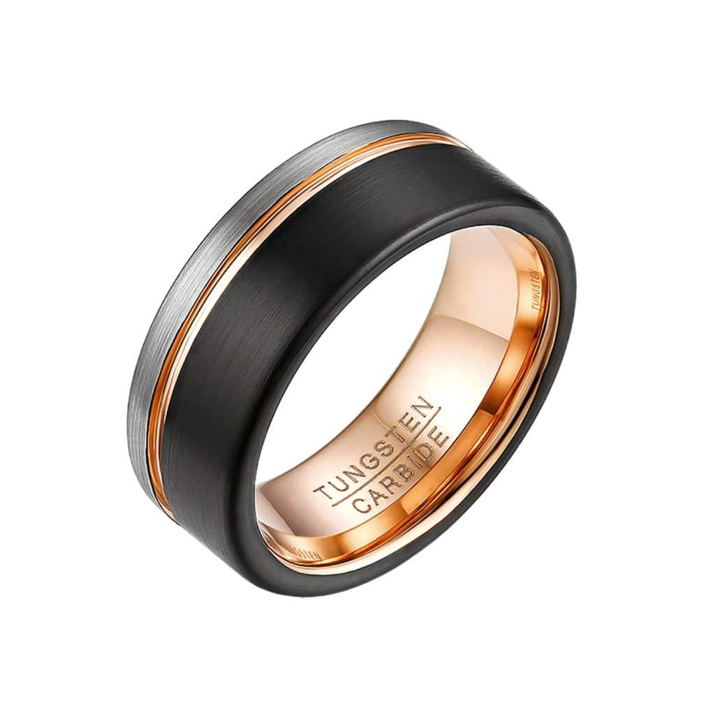 Rose Gold Tungsten Carbide Band with Black and Silver Detail