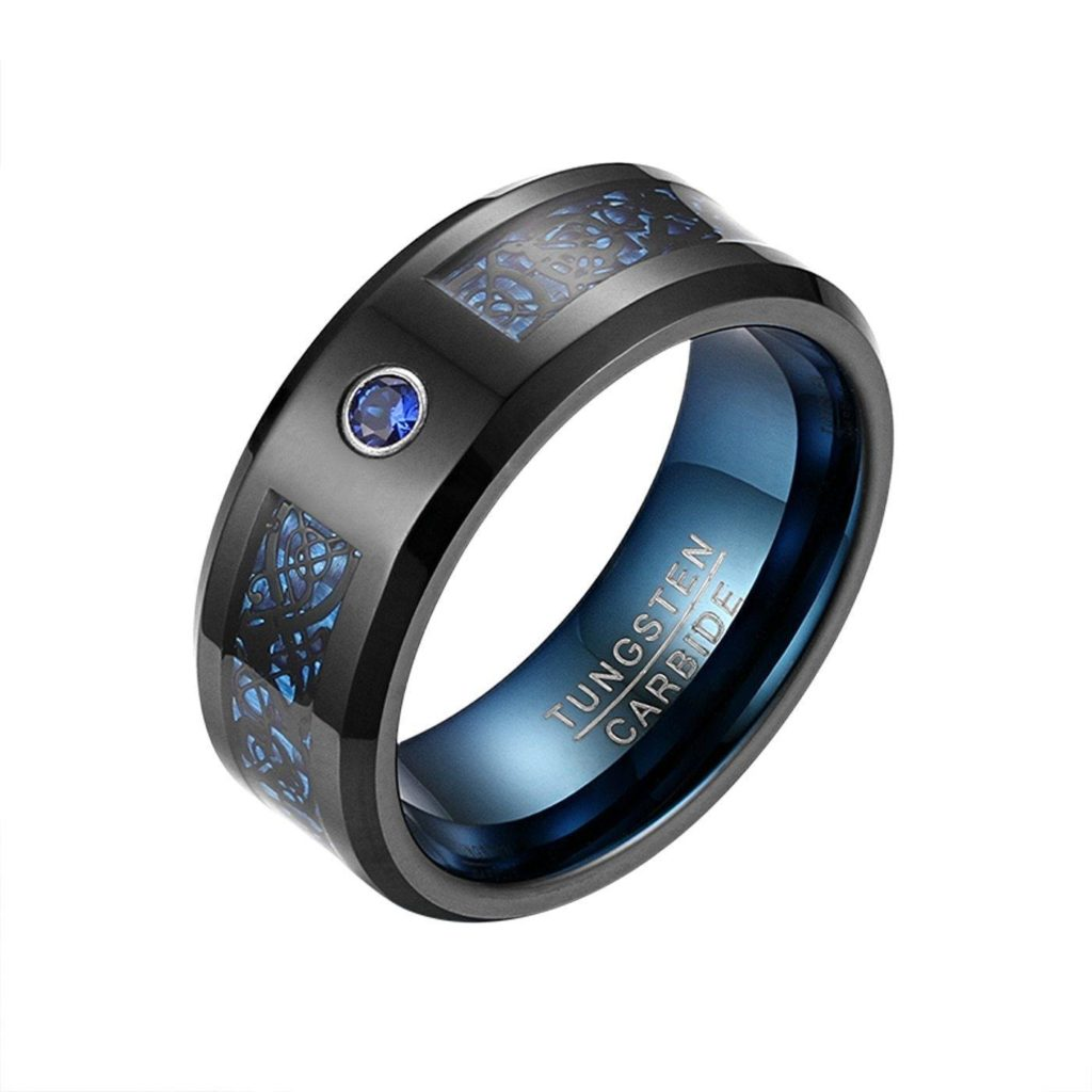 8MM Blue Crystal Tungsten Design Band Ring