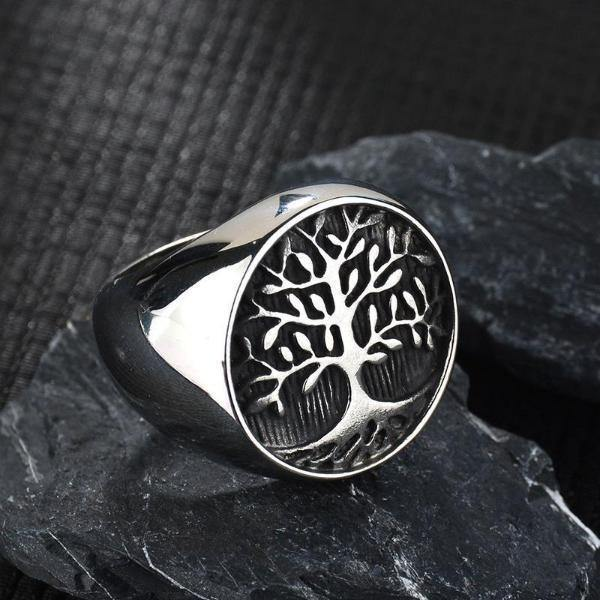 Tree Of Life Stainless Steel Signet Ring