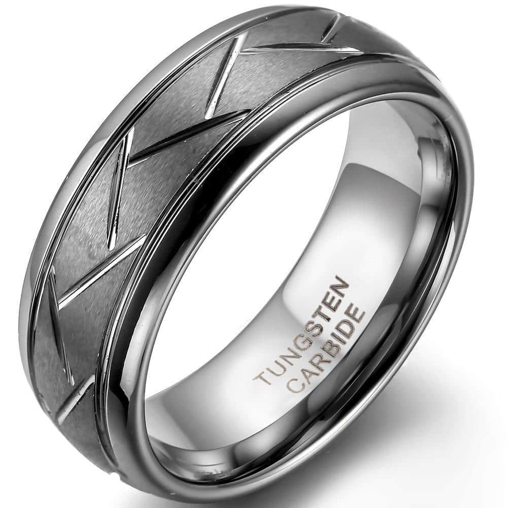 8MM Men's Grey Brushed Finish Grooved Tungsten Carbide Ring