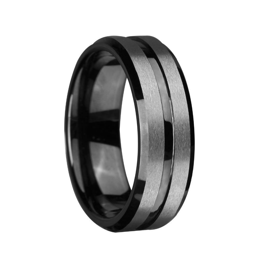 8mm Black and Silver Brushed Tungsten Ring