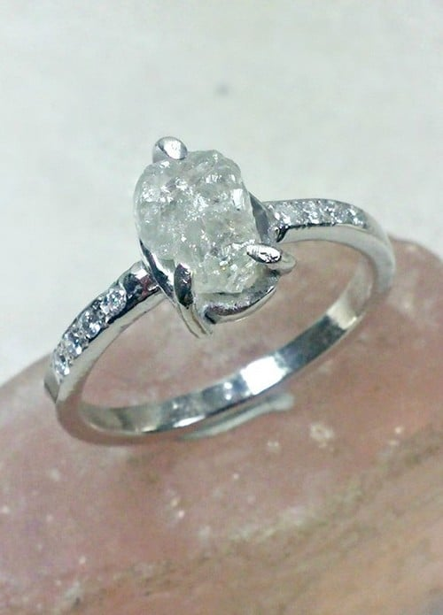 Rough Diamond Engagement Ring Uk
