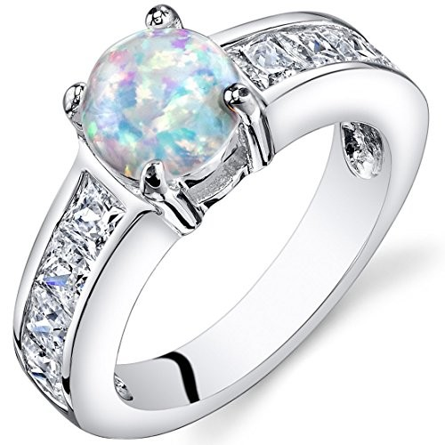 Round Opal Engagament Ring