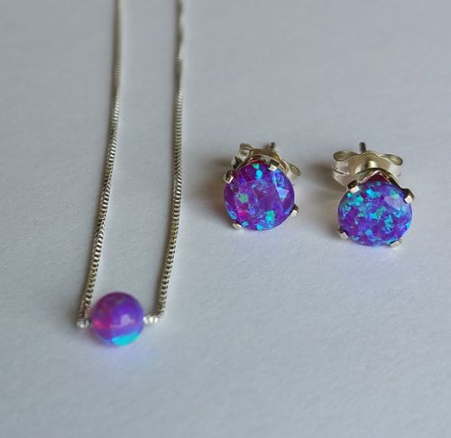 Silver Opal Earrings And Necklace Set