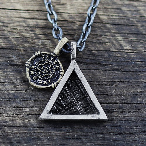 Silver Triangle Pendant Mens Necklace