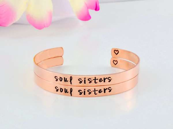 Soul Sisters - Hand Stamped Copper