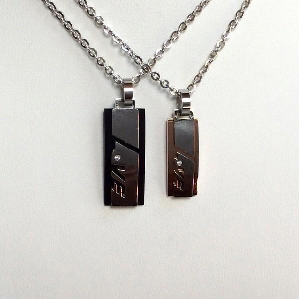 Split Heart Couple Necklace Set