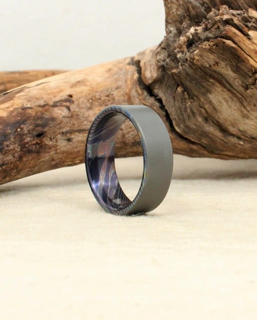 Steel Wood Engagement Wedding Ring For Men