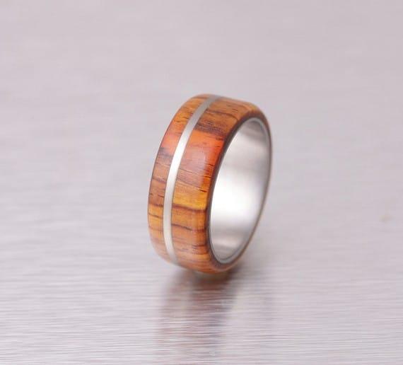 Unique Mens Wedding Bands Wood Inlay