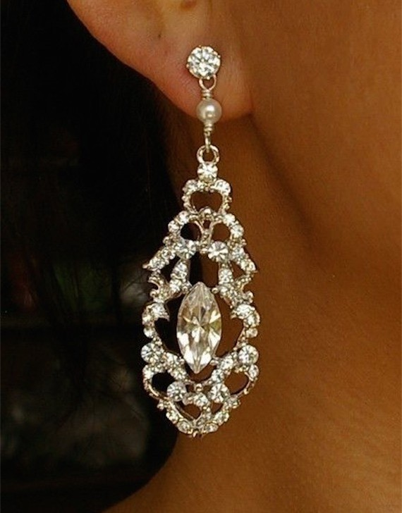 Vintage Wedding Bridal Earrings Rhinestone