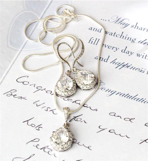 Wedding Jewellery Set Bridal Clear White Teardrop